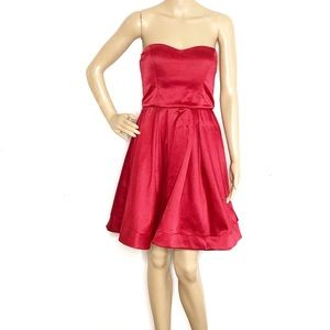 Sequin Hearts Red Satin Strapless Cocktail Dress